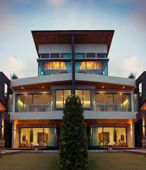 view modern house lights. 3-story Towering Modern Home With Extensive Windows And Loft Ceiling On Third Floor View House Lights