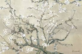 Almond Branches in Bloom, San Remy Grey - Vincent Van Gogh Paintings