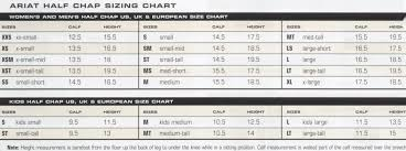 Ariat Shoe Size Chart Ariat Chaps Sizing Chart Horse Sports