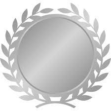 月桂樹月桂冠のエンブレムフレーム枠イラスト銀シルバー