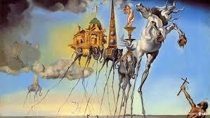 salvador dalí painting fantasy art skull war clocks time