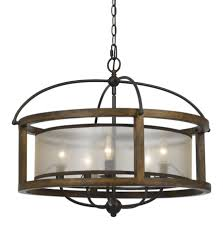 mission 26 inch wide 5 light round pendant chandelier in wood metal