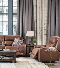 gray wall brown furniture. Loft Living Room With Brown Motion Furniture, Gray Windows And Treatments. Wall Furniture