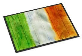 Caroline's Treasures Irish Flag on Wood Indoor/Outdoor Doormat ...