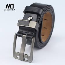 medyla mens leather belt men high quality alloy pin buckle smooth and soft belt jeans casual