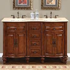 55 Inch Small Double Sink Bathroom Vanity With Marble