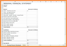 Personal Financial Statement Blank Forms Personal Financial Statement Excel Estate Accounting Template
