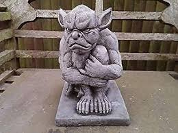 grumpy gargoyle garden ornament reconsuted stone superb details