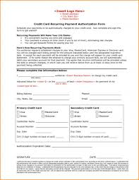 Recurring Payment Authorization Form Credit Card Billing Authorization Form Template Automatic Payment