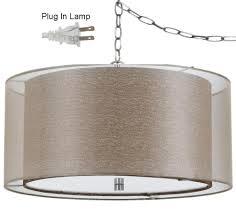double drum swag lamp golden sheer organza burlap fx 1p pendant chandelier crystal lighting bronze shaped