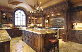 High Quality Luxury Kitchen Design Idea   Custom Made Wood Cabinets In Combination With  Natural Stone Countertops