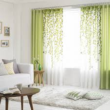 living room curtains. Lime Green And White Leaf Print Poly/Cotton Blend Country Living Room Curtains B