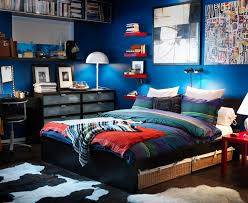 Excellent Small Teen Boy Bedroom Design with Cool Blue Wall Paint Color and  Twin Size Bed and Wicker Baskets Under Bed also Espresso Wooden Furnitures  ...