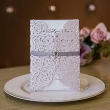 Elegant Vintage Blush Floral Trifold Laser Cut Invitations With Ribbon And Heart Crystal Swws024 Stylishwedd