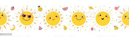 Colorful Summer Vector Happy Cute Sun Characters Seamless Border Pattern  Repeating Horizontal Banner With Cartoon Doodle Funny Kawaii Suns And  Fruits Stock Illustration - Download Image Now - iStock