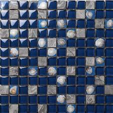 dark blue glass mosaic glossy tile resin shell gray stone backsplash bathroom wall tiles