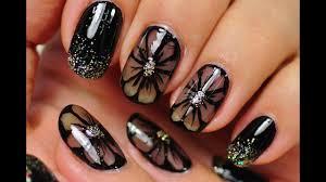 nail art black nail design black flowers