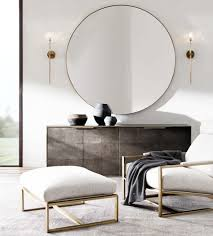 modern furniture style. restoration hardware modern round mirror in brass above the console dining space furniture style t