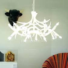 modern antler chandelier white