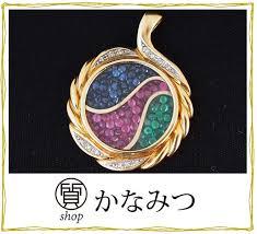pendant top necklace diamond emerald ruby sapphire used k18 18 karat gold pt900