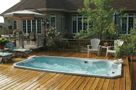 above ground pool with deck attached to house. Image Of Stylish Above Ground Pool Decks Attached To House With Hydropool Swim Spa Also Hampton Deck