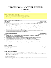 Janitor Professional Profile Interest Profile Resume Examples