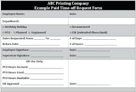 Paid Time Off Form Template Printable Time Off Request Form Template Employee Ffshop Inspiration