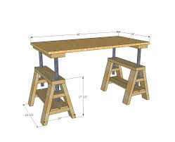 Easy Table Plans Ana White Build A Modern Indsutrial Adjustable Sawhorse Desk To