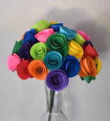Paper Flower Bouquet Etsy Mothers Day Gift Gift For Mom Rainbow Paper Flower Bouquet Colorful Paper Flowers