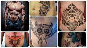 татуировки фото мужские на животе