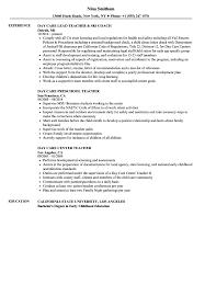 Resume Day Care Teacher Resume Samples Velvet Jobs S Sample Resume
