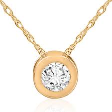 si 1 ct yellow gold diamond solitaire pendant 14k bezel necklace 0