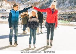 happy family outdoor ice skating rink stock photo  happy family outdoor ice skating at rink winter activities