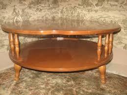ethan allen cloverleaf coffee table heirloom nutmeg maple collection 10 8581
