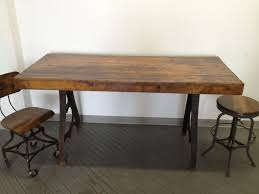 vine industrial dining table cast iron bakers butcher block factory 6 desk ebay
