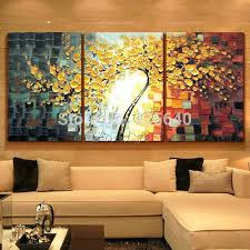 three piece canvas artwork whole oil painting 3 panel wall art picture modern abstract home decor living room set hand painted palette knife tree