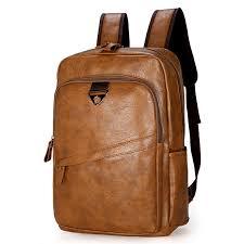 Fashion <b>Men Backpack</b> Waterproof PU Leather Travel <b>Bag Man</b> ...