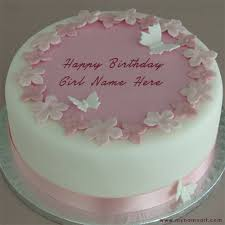 Write Girl Name On Butterfly Design Birthday Cake Pictures