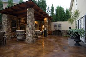 stained concrete patio Patio Traditional with concrete and stone
