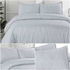 details about bed duvet cover set bedding comforter soft microfiber queen king size geometric