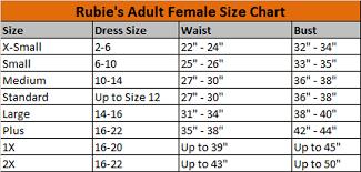 Rubies Costume Size Chart Size Charts