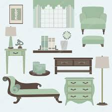 Teal Living Room Accessories Living Room Furniture And Accessories In Light Teal Stock Vector