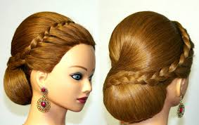French Braid Updo Hairstyles Hairstyle For Medium Long Hair Bun Updo With French Braid Youtube