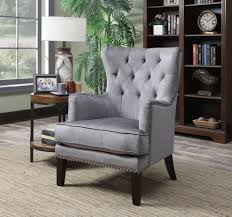 tufted nailhead trim classic wingback accent chair