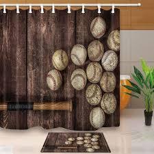 baseball on the wooden waterproof polyester fabric shower curtain set non slip floor mat bath
