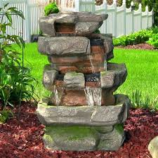 rock waterfall fountain lighted outdoor water fountains