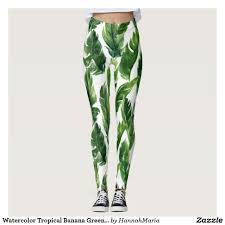 Cheap Tights With Designs Watercolor Tropical Banana Greenery Leaves Foliage Leggings