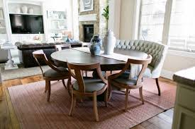 cozy curved settee for round dining table fino ideas and gallery amazing tufted chairs on the carpet