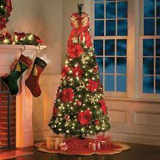 6.5 Foot Pre-lit Decorated Poinsetta Pop Up Christmas Tree Decor