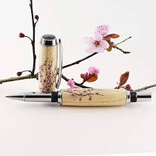 cherry blossom wooden pen irish gifts handmade in ireland rollerball best pen for smooth writing pen with blossom fl detail truly a unique gift for any